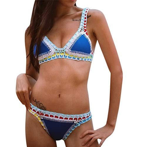 Women Crochet Bikini Bathing Swimsuit Tassel Beachwear Knit 2PCS Bathing Suit Boho Set
