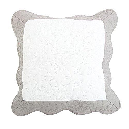 Nuances du Monde - 3001001, Kissenuberzug, 45 X 45 cm, Emma, Mikrofaser Zweifarbig, Weiss/Grau