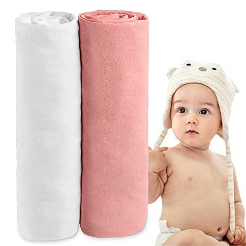 copripiumino 70x160 Dreamzie - Lenzuolo con Angoli Cotone - Set of 2 (70 x 140 x 12 cm) - Bianco e Rosa - 100% Cotone Jersey OEKO-TEX® - Elastico Completo 12 cm
