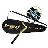 Senston Raquette de badminton graphite de haute qualité Badminton Raquette - Incluant 1 sac de badminton/1 raquette de badminton - Vert
