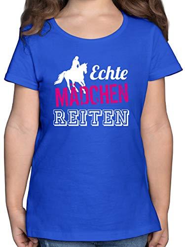 Sport Kind - Echte Mädchen reiten - 140 (9/11 Jahre) - Royalblau - Tshirt 10 Jahre mädchen - F131K - Mädchen Kinder T-Shirt