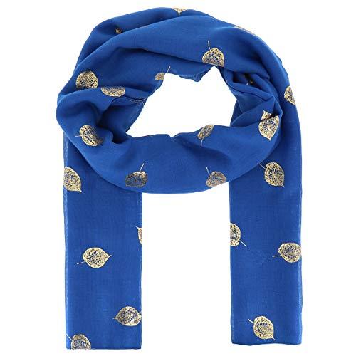 moonbow Pañuelo Mujer estampado Hoja Dorada 20% Algodón 80% Viscosa Azul real - Maxi Bufanda Ligera Larga y Rectangular 180cm x 70cm - Foulard Original Brillante Moderno y de Moda - Fular Boho