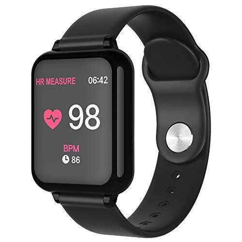 YWLINK Reloj Deportivo Inteligente Monitor De Ritmo CardíAco Bluetooth Pulsera Fitness Tracker Impermeable IP67 PulsóMetros (Correr, Baloncesto, FúTbol, NatacióN) Compatible con iOS Android(Negro)