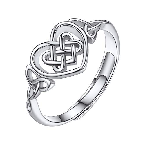 ChicSilver Celtic Knot Heart Rings for Women 925 Sterling Silver High Polished Irish Love Knots Eternity Wedding Band Adjustable Size(with Gift Box)