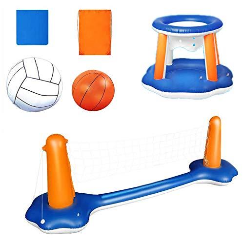 Shhjjyp Juego de voleibol inflable de 118 pulgadas, incluye juego de baloncesto y pelotas flotantes para piscina, juguete de voleibol para niños y adultos