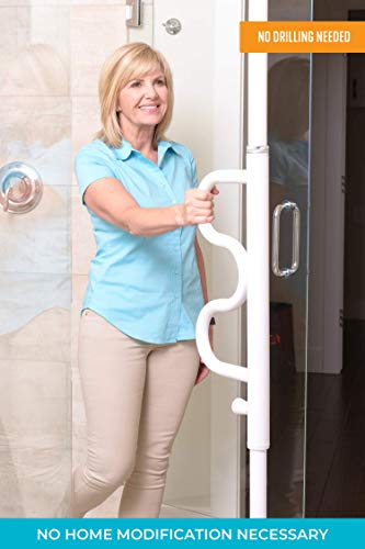 Stander Security Pole and Curve Grab Bar, Elderly Tension Mounted Floor to Ceiling Transfer Pole, Bathroom Safety Assist and Stability Rail, Iceberg White Best Transfer Poles for the Elderly