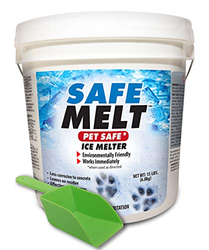 HARRIS Safe Melt Pet Friendly Ice and Snow Melter, Fast Acting 100% Pure Magnesium Chloride Formula, 15lb with Scoop Included Inside Bucket