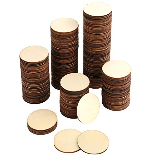 Foraineam 200 Pieces Wood Craft Circle Cutouts 2 Inch Round Natural Wooden Disc Circles Unfinished Slices for Craft Supplies, Decoration, Painting, Writing, Engraving and Carving