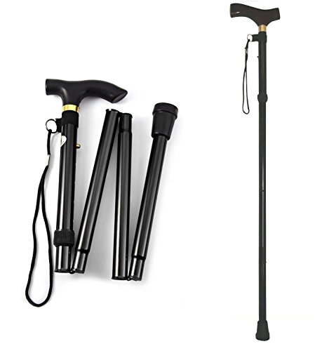 Asier Automatic Magnetic Snap-Out Folding Walking Cane Stick with Adjustable Length - Color: Black
