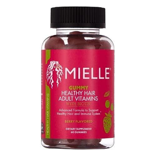 Mielle Organics Adult Healthy Hair Formula Gummy Vitamins with Biotin, 60 Count