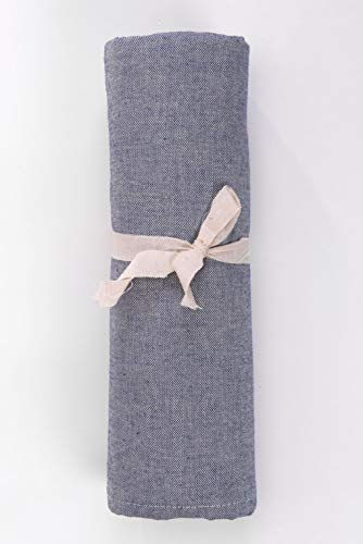 HomeLife – Foulard Multiusos – Tela Decorativa Cubre sofá con diseño Liso, 160x280, fabricación Italiana – Granfoulard de algodón – Cubrecama Individual (Cama 1 Plaza) – Azul