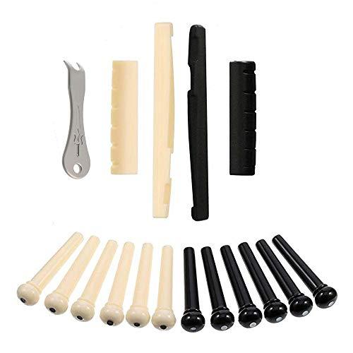 17 Stk Guitar Bridge Pins mit Bridge Pegs Pin Puller Remover und Guitar Saddle Nut Set, zur Verbesserung der Klangqualität Ihrer Gitarre und zur Stärkung des Sustain (Schwarz, Elfenbein)