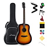 Donner DAG-1 Beginner Acoustic Guitar Full-size,41'' Dreadnought Spruce Guitar Package with Gig Bag Tuner Strap String