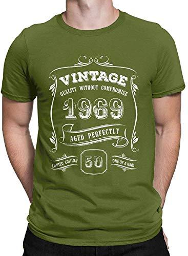 50. Geburtstags-Geschenk Vintage 1969 T-Shirt Alter Perfekt Tops T-Shirts für Männer, Mittel, Moosgrün