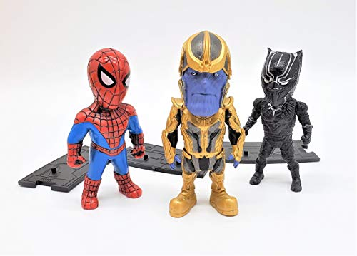 Black Panther, Thanos, and Spider-Man Action Figure 3-in-1 Superheroes Set