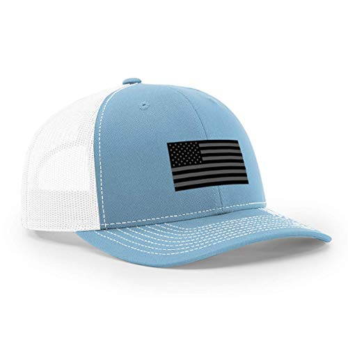 USA Snapback Hat with Real Woven Midnight Patch (Baby Blue/White)