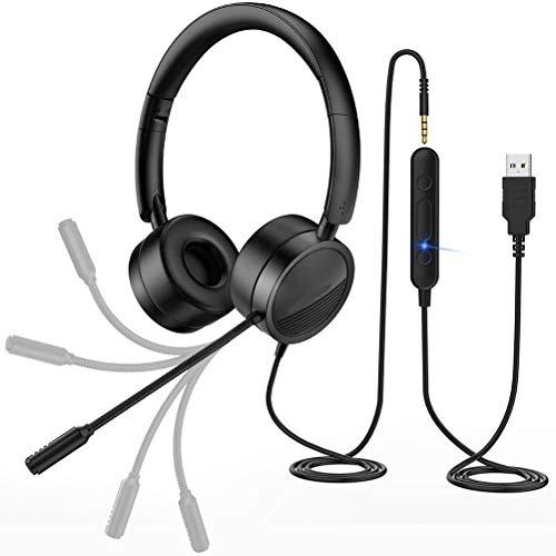 BSTTAI Auriculares para computadora, Auriculares para PC con micrófono USB, Auriculares para Empresas de 3,5 mm, con supresión de Ruido, Auriculares con micrófono, para la Oficina en casa