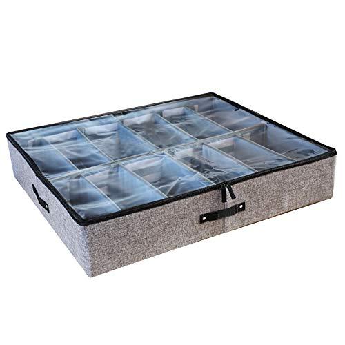 Hearkey Caja de Almacenamiento de Zapatos para Debajo de la Cama con 12 Bolsillos Rucio Plegable Funda Transparente Divisores Extraíbles para Zapatos, Ropa, Edredones, Mantas de Cama