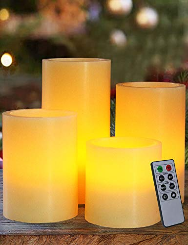 HOME MOST Set of 4 Real Wax Ivory Flameless Pillar Candles with Remote (Smooth Edge, 3'/4'/5'/6' Tall) - LED Pillar Candles Bulk Unscented - Real Wax LED Candles - Decorative LED Candles with Remote