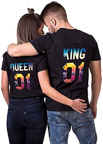 NIMAMA Damen T-Shirt King Queen QueenSun