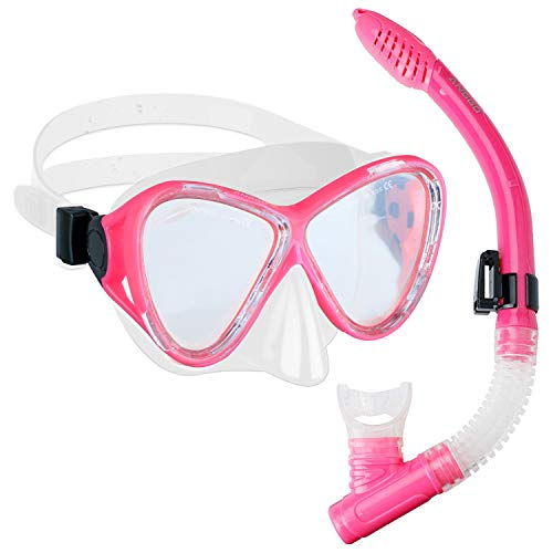 ANGGO Snorkel Set, Anti-Fog Film Dive Mask Snorkel Combo Tempered Glass Goggle and Dry Top Snorkel for Swimming and Snorkeling for Adult Youth