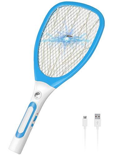 Feizhibo Raqueta Matamoscas Eléctrica, Anti Moscas Insectos Zapper Swatter Electrica, USB Recargable Insectos Asesino Repelente para Interiores y Exteriores