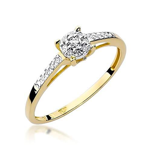 Anillo solitario de compromiso para mujer, oro amarillo 585 de 14 quilates, diamantes naturales