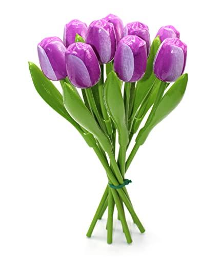 Ramo de Tulipanes de Madera Violeta, 9 Tulipanes Artificiales Pintados a Mano, 34 cm de Altura, Ramo, decoración, Regalo, Made in Holland