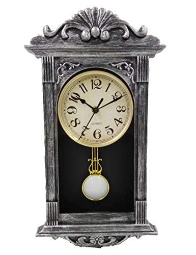 LIN'A3 Retro Pendulum Wall Clock Vintage Clock Antique Plastic Grandfather Wall Clock with Pendulum,41x22x7cm (Bronze Silver)