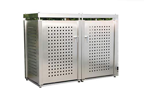 Mülltonnenbox Edelstahl für 2 Mülltonnen (240 l)