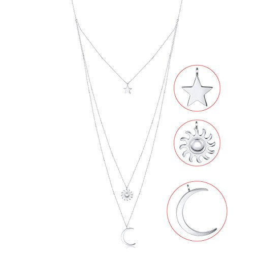 925 Sterling Silver Multilayer Star Sun Moon layered Triple Chain Bohemian Pendant Necklace for Women
