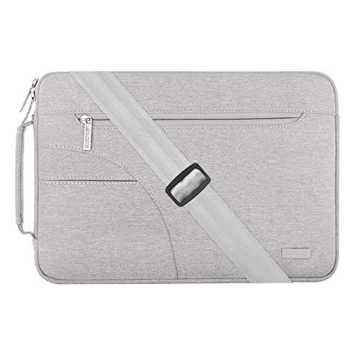 MOSISO Laptop Spalla Borsa con Tasca Laterale Compatibile con 2019 2018 MacBook Air 13 Pollici A1932,MacBook PRO 13 Touch Bar A2159/A1989/A1706/A1708,Poliestere Custodia Protettiva,Grigio