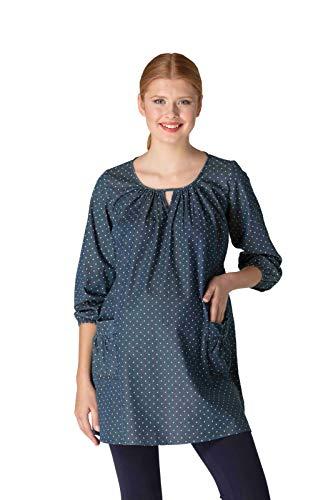 M.M.C. Umstands-Jeanskleid mit Punkten - Gepunktete Schwangerschaftstunika mit Taschen - Damen Schwangerschaft Tunika Kleid Bluse Denim Umstandskleid (Blau, 38)