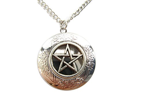 Pentagram Protection Locket Necklace, Pagan Symbol, Wicca, Wiccan Jewelry,Supernatural,Ancient Silver