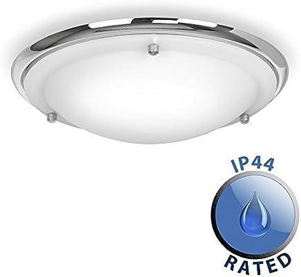 Modern IP44 Silver Chrome & Glass Flush Bathroom Ceiling Light