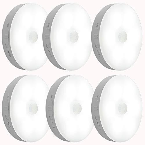Luce notturna con rilevatore di movimento,lampada da parete ricaricabile USB,luce a LED intelligente per armadio Per camera da letto,armadio,corridoio,Cucina,Scale,Garage ecc.(Luce bianca,6 pezzi)