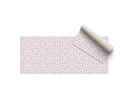 Alfombra Vinílica Cocina Flores, Color Rosa, 100 x 50 x 0.22 cm, Alfombra de Vinilo de Varios Tamaños con Base Antideslizante, Material Lavable y Recortable, ALV-100