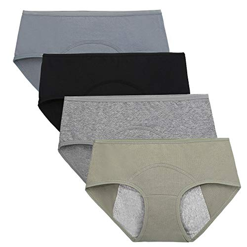 Nightaste Bragas del Período Menstrual Algodón Niña Chicas Adolescentes Micro Mesh Culottes Mujer Posparto Protección Ropa Interior(Paquete de 4) (M(Cintura:66-68.5cm), Estilo1)