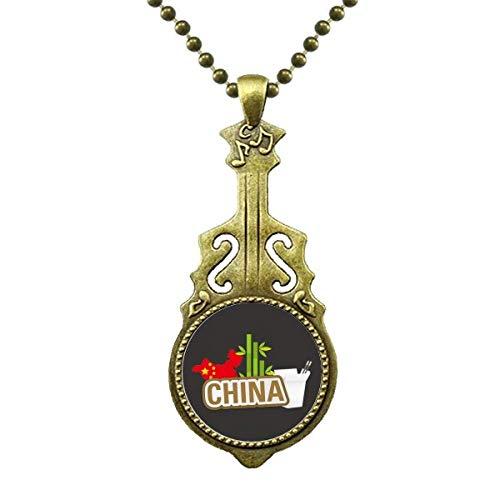 China Map Bamboo Brown China Town Halskette Antiker Gitarrenschmuck Musikanhänger