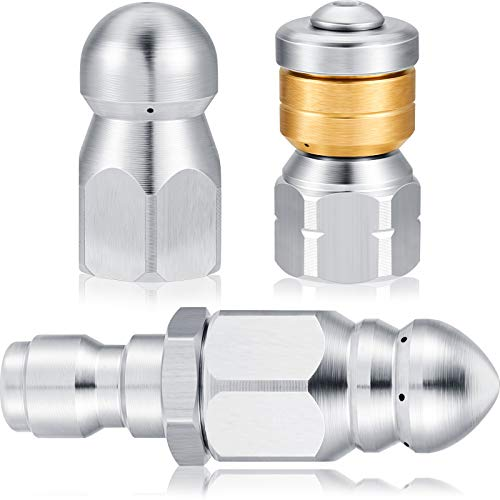 3 Pieces Sewer Jetter Nozzle Rotating Button Nose Sewer Jetting Nozzle Stainless Steel Fixed Sewer Nozzle with Different Models for 1/4 Inch Pressure Washer Quick Connector Pressure up to 5000 PSI