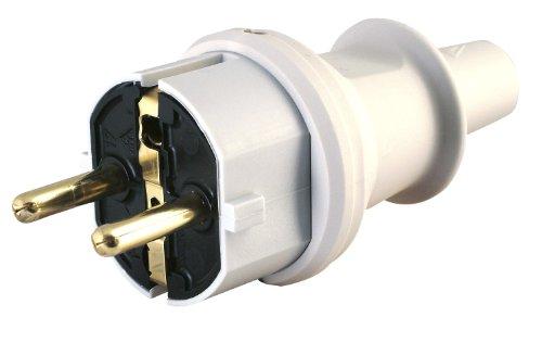 Kopp Schutzkontaktstecker mit Knickschutztülle, IP44 Schutzklasse, spritzwassergeschützt, 250V (16A), Schutzkontakt Stecker aus PVC, bruchfest, grau, 173004009