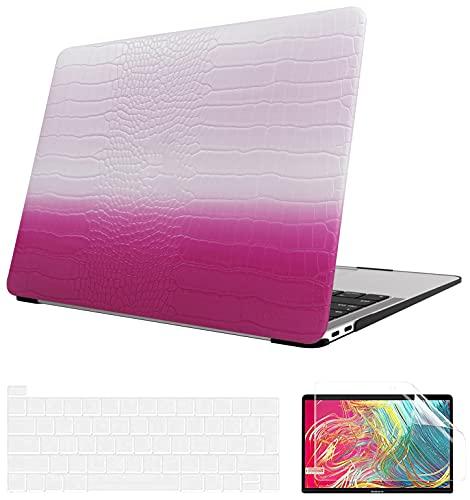 AOGGY - Carcasa para MacBook Pro de 13 pulgadas 2020 Release A2338 M1/A2289/A2251, 2020 MacBook Pro de 13 pulgadas, funda de piel con tapa de teclado y protector de pantalla – Piel Magenta