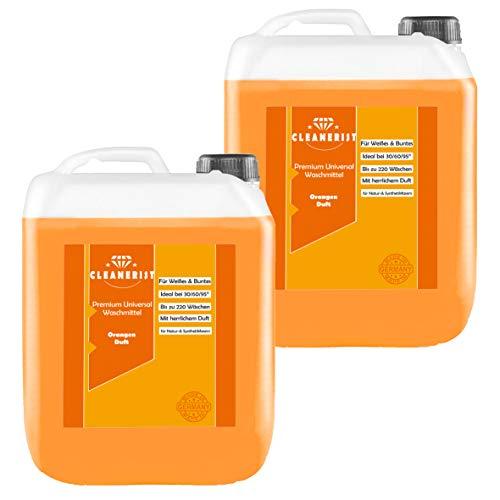 Cleanerist Flüssigwaschmittel Premium Waschmittel mit Orangenduft | 2x5 Liter Vollwaschmittel Grosspackung | bis zu 220 Waschladungen color weiß schwarz