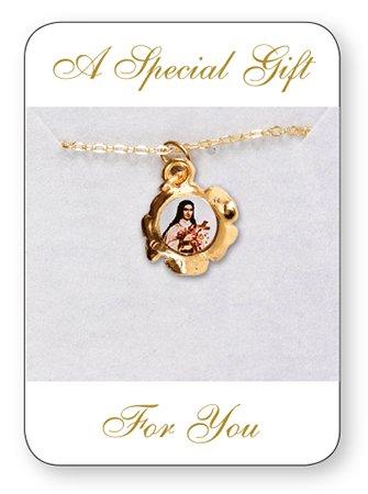 10mm St Saint Theresa Gold Plated Charm Hanger met vergulde ketting en een Double Heart Love Token in tinnen