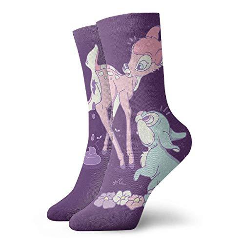 Needyo Strümpfe Kompression,Laufsocken,Bambi's Poop Fashionable Crew Socks Unisex Cotton Comfortable Warm Socks Stockings für Sport,Medi,Flug, Reisen,Schwangerschaft & Medizinische