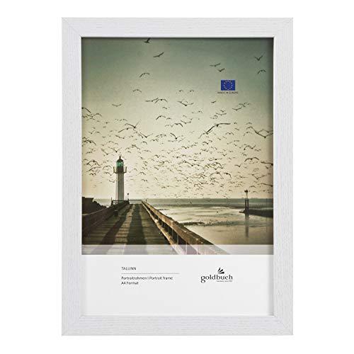 goldbuch Tallinn 92 0396 - Marco de fotos (madera, para fotos en formato DIN A4, con soporte de pared, marco individual de MDF, 24 x 32,8 x 1,5 cm), color blanco