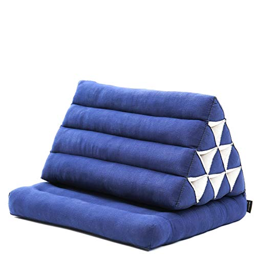 Leewadee Materasso Pieghevole con Schienale Triangolare: Comodo Tappetino con Cuscino Triangolare in Eco-kapok Fatto a Mano, Materasso thailandese, 75 x 50 cm, Blu