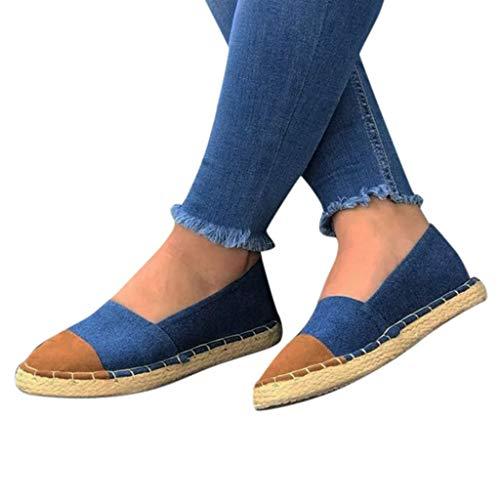 Alpargatas Planas de Mujer Zapatillas Moda Alpargatas Folk/Etnico Bohemia Planos Mujer Estrás Glitter básica con Paja tacón Plano Alpargata con Plataforma
