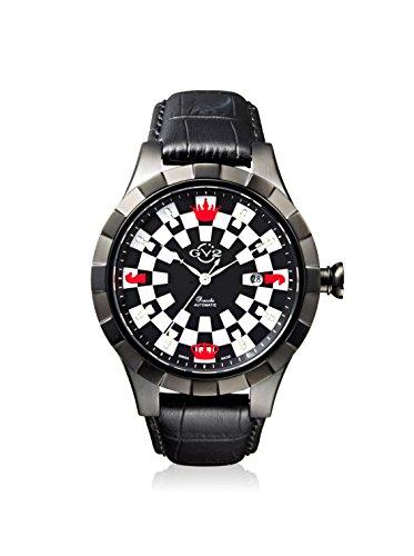 GV2 by Gevril Scacchi Herren-Armbanduhr, Schweizer Automatik, schwarzes Lederarmband (Modell: 9501)
