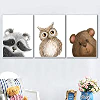 ウサギキツネクマフクロウアライグマ保育園壁アートキャンバス絵画北欧のポスターとプリント壁の写真赤ちゃんキッズルームの装飾60x80cmx3フレームレス